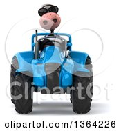Clipart Of A 3d Cow Farmer Wearing Sunglasses And Operating A Blue Tractor On A White Background Royalty Free Illustration