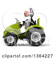 Clipart Of A 3d Cow Farmer Operating A Green Tractor On A White Background Royalty Free Illustration