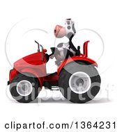 Poster, Art Print Of 3d Cow Farmer Operating A Red Tractor On A White Background