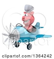 Clipart Of A 3d Chef Pig Flying A Blue Airplane On A White Background Royalty Free Illustration