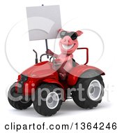 Poster, Art Print Of 3d Pig Wearing Sunglasses Holding A Blank Sign And Operating A Red Tractor On A White Background