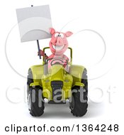 Poster, Art Print Of 3d Pig Holding A Blank Sign And Operating A Green Tractor On A White Background