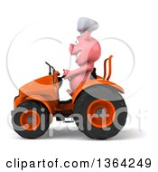 Clipart Of A 3d Chef Pig Operating An Orange Tractor On A White Background Royalty Free Illustration