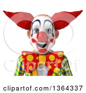 3d Funky Clown Avatar On A White Background