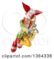 3d Funky Clown Flying And Playing A Saxophone On A White Background