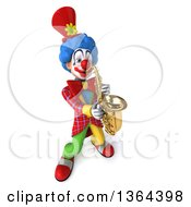 3d Colorful Clown Playing A Saxophone On A White Background