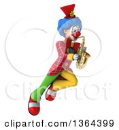 3d Colorful Clown Flying And Playing A Saxophone On A White Background