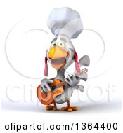 Clipart Of A 3d White Chef Chicken Playing A Guitar On A White Background Royalty Free Illustration