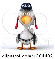 Clipart Of A 3d White Police Chicken On A White Background Royalty Free Illustration by Julos