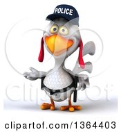 Clipart Of A 3d White Police Chicken Presenting On A White Background Royalty Free Illustration