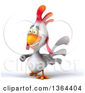 Clipart Of A 3d White Chicken Walking On A White Background Royalty Free Illustration