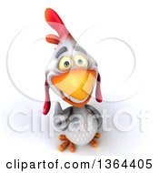Clipart Of A 3d White Chicken Holding Up A Thumb On A White Background Royalty Free Illustration