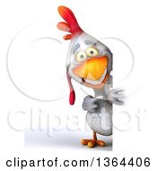 Clipart Of A 3d White Chicken Pointing Around A Sign On A White Background Royalty Free Illustration