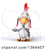 Clipart Of A 3d White Chicken Presenting On A White Background Royalty Free Illustration