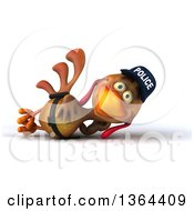 Clipart Of A 3d Brown Police Chicken Resting On His Side On A White Background Royalty Free Illustration