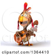 3d Brown Chicken Playing A Guitar And Singing On A White Background