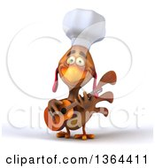 3d Chef Chicken Playing A Guitar And Singing On A White Background