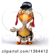 Clipart Of A 3d Brown Police Chicken Presenting On A White Background Royalty Free Illustration