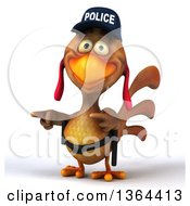 Clipart Of A 3d Brown Police Chicken Pointing On A White Background Royalty Free Illustration