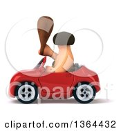 3d Caveman Holding A Club And Driving A Red Convertible Car On A White Background