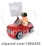 3d Caveman Holding A Blank Sign And Driving A Red Convertible Car On A White Background