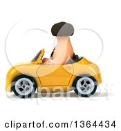 3d Caveman Driving A Yellow Convertible Car On A White Background