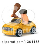 3d Caveman Holding A Club And Driving A Yellow Convertible Car On A White Background