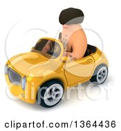 Clipart Of A 3d Caveman Driving A Yellow Convertible Car On A White Background Royalty Free Illustration by Julos