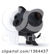 Clipart Of A 3d Black Kitten By A Sign On A White Background Royalty Free Illustration
