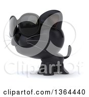 Clipart Of A 3d Black Kitten Wearing Sunglasses On A White Background Royalty Free Illustration