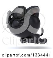 Clipart Of A 3d Black Kitten Wearing Sunglasses And Running On A White Background Royalty Free Illustration