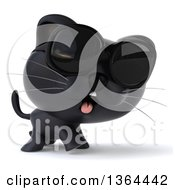 Clipart Of A 3d Black Kitten Wearing Sunglasses And Walking On A White Background Royalty Free Illustration