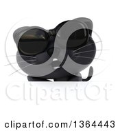 Clipart Of A 3d Black Kitten Wearing Sunglasses Over A Sign On A White Background Royalty Free Illustration