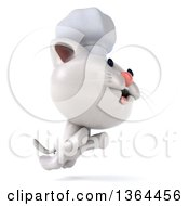 Clipart Of A 3d White Chef Kitten Leaping On A White Background Royalty Free Illustration