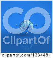 Clipart Of A 3d Blue Brain Character Meditating On A Blue Background Royalty Free Illustration