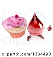 Clipart Of A 3d Hot Water Or Blood Drop Character Holding Up A Thumb And A Cupcake On A White Background Royalty Free Illustration