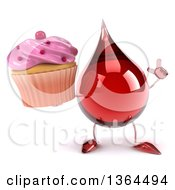 Clipart Of A 3d Hot Water Or Blood Drop Character Holding Up A Finger And A Cupcake On A White Background Royalty Free Illustration