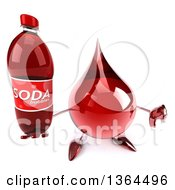 Clipart Of A 3d Hot Water Or Blood Drop Character Holding Up A Thumb Down And A Soda Bottle On A White Background Royalty Free Illustration