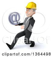 Clipart Of A 3d Yong White Male Contractor Holding An Email Arobase At Symbol And Walking To The Left On A White Background Royalty Free Illustration