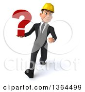 Clipart Of A 3d Yong White Male Contractor Holding A Question Mark And Speed Walking On A White Background Royalty Free Illustration