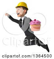 Clipart Of A 3d Yong White Male Contractor Holding A Cupcake And Flying On A White Background Royalty Free Illustration
