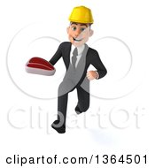 Clipart Of A 3d Yong White Male Contractor Holding A Beef Steak And Sprinting On A White Background Royalty Free Illustration