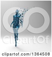 Clipart Of A 3d Broken Shattered Blue Woman With Pieces Floating Away On A Shaded Background Royalty Free Illustration by Julos