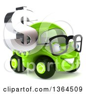 Clipart Of A 3d Happy Bespectacled Green Compact Car Holding A Dollar Currency Symbol On A White Background Royalty Free Illustration