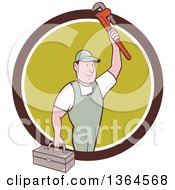 Clipart Of A Retro Cartoon White Male Plumber Holding Up A Monkey Wrench And Tool Box In A Brown White And Green Circle Royalty Free Vector Illustration