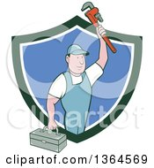 Clipart Of A Retro Cartoon White Male Plumber Holding Up A Monkey Wrench And Tool Box In A Green White And Blue Shield Royalty Free Vector Illustration