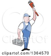 Clipart Of A Retro Cartoon White Male Plumber Holding Up A Monkey Wrench And Tool Box Royalty Free Vector Illustration