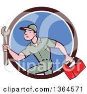 Clipart Of A Retro Cartoon White Male Plumber Carrying A Monkey Wrench And Tool Box In A Brown White And Blue Circle Royalty Free Vector Illustration
