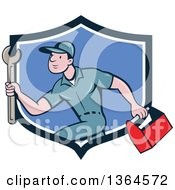 Clipart Of A Retro Cartoon White Male Plumber Carrying A Monkey Wrench And Tool Box In A Blue And White Shield Royalty Free Vector Illustration