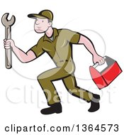 Clipart Of A Retro Cartoon White Male Plumber In A Green Uniform Carrying A Monkey Wrench And Tool Box Royalty Free Vector Illustration